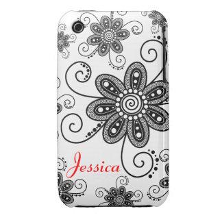 La alheña inspiró las flores espirales (negro y el iPhone 3 Case-Mate protectores
