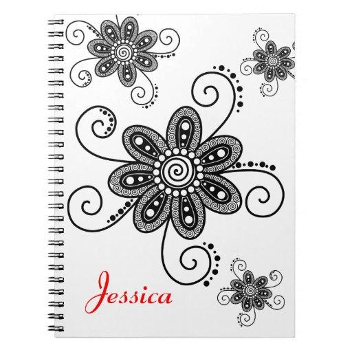 La alheña inspiró las flores espirales (negro y el libreta