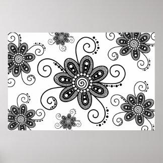 La alheña inspiró las flores espirales (negro y el póster