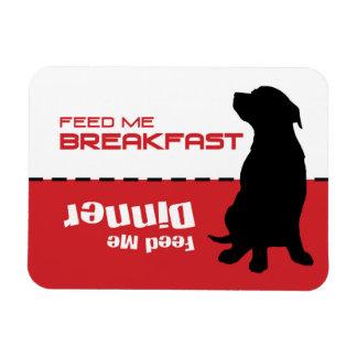 La alimentación del perro me alimenta que el perro imán foto rectangular