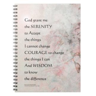 La almendra del rezo de la serenidad florece rosa note book