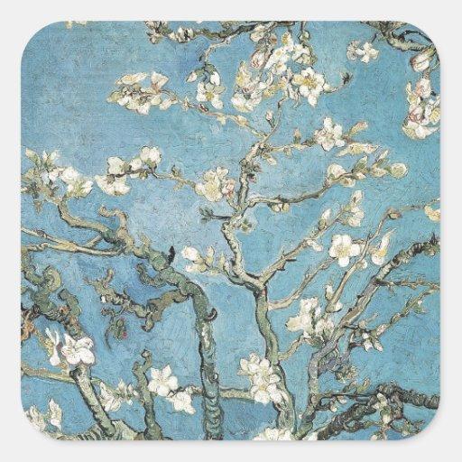 La almendra ramifica en la floración, 1890, calcomania cuadrada personalizada