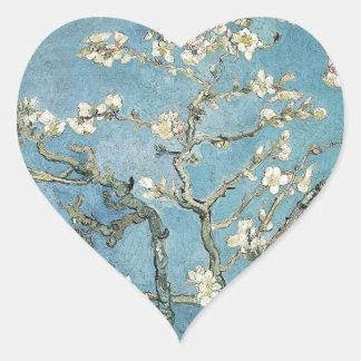 La almendra ramifica en la floración, 1890, pegatina de corazon