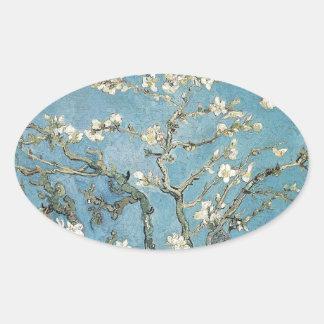 La almendra ramifica en la floración, 1890, pegatina ovalada