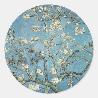La almendra ramifica en la floración, 1890, pegatina redonda