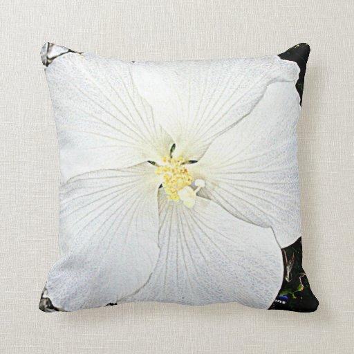 la almohada blanca de la flor del hibisco florece