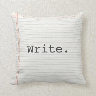 La almohada del escritor, escribe, papel del cojín decorativo