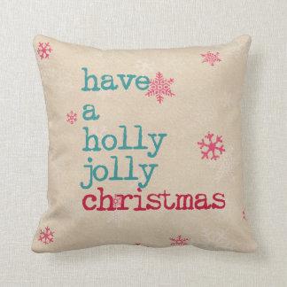 La almohada del navidad tiene navidad alegre de un