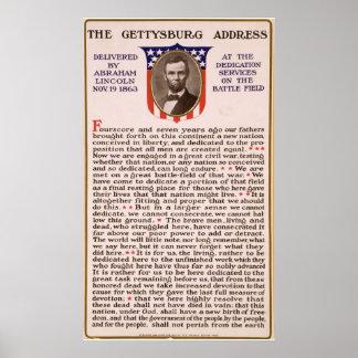 La alocución de Gettysburg de Abraham Lincoln 1863 Poster