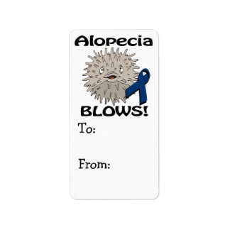 La alopecia sopla diseño de la conciencia etiquetas de dirección