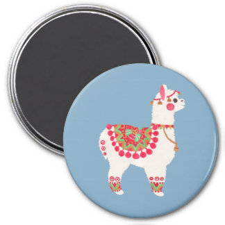 La alpaca imán redondo 7 cm