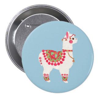 La alpaca pin redondo de 3 pulgadas