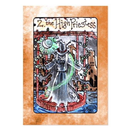 La alta carta de tarot de la sacerdotisa tarjetas de visita grandes