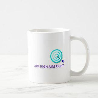 la alta derecha del objetivo del objetivo taza de café