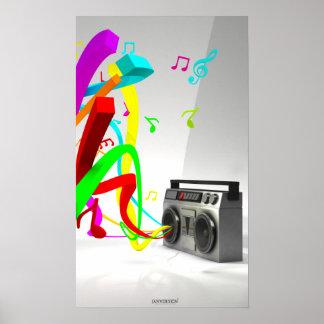 La alta música del ambiente - blanco estéreo del v póster