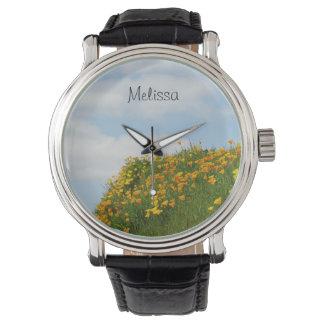 La amapola anaranjada personalizada de los nombres relojes de mano