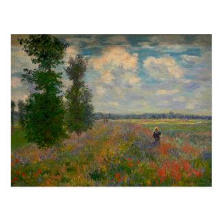 La amapola coloca la bella arte de Claude Monet Tarjetas Postales