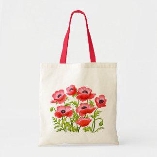 La amapola de jardín roja florece el bolso bolsa tela barata