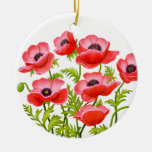 La amapola de jardín roja florece el ornamento ornamentos de reyes magos
