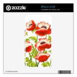 La amapola de jardín roja florece la piel de Zazzl Calcomanía Para iPhone 4S
