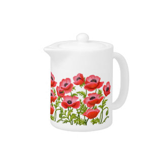 La amapola de jardín roja florece la tetera
