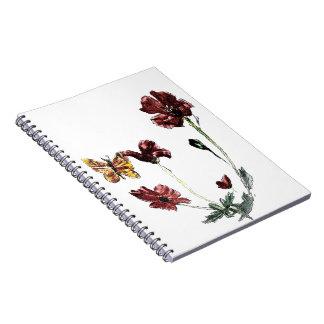 La amapola de la mariposa florece el ejemplo cuaderno