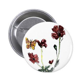 La amapola de la mariposa florece el ejemplo pin redondo de 2 pulgadas