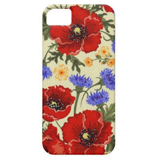 La amapola de la primavera florece amarillo azulve iPhone 5 cárcasa