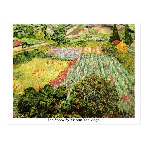 La amapola de Vincent van Gogh Postal