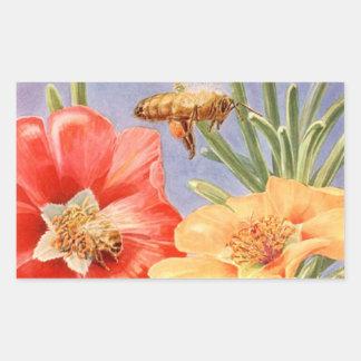La amapola del vintage florece a los pegatinas del pegatina rectangular