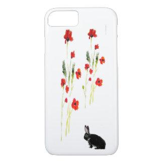 La amapola florece arte del conejo de conejito funda iPhone 7