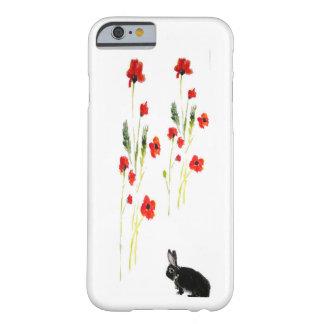 La amapola florece arte del conejo de conejito funda para iPhone 6 barely there