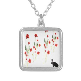 La amapola florece el conejo de conejito collares personalizados