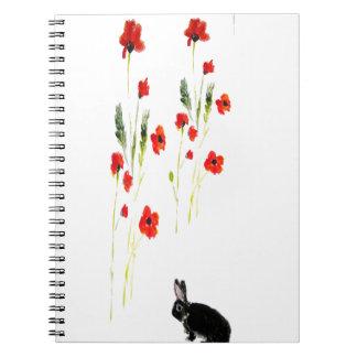 La amapola florece el conejo de conejito cuaderno