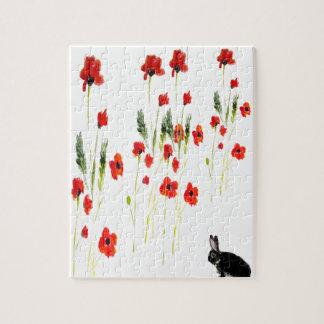 La amapola florece el conejo de conejito rompecabezas