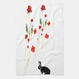 La amapola florece el conejo de conejito toalla de cocina