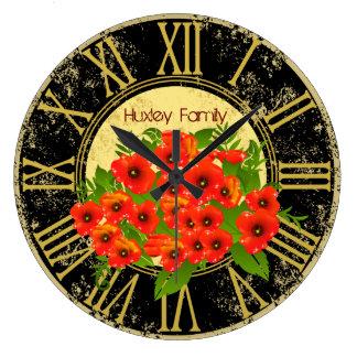 La amapola florece el reloj de pared del vintage