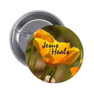 La amapola Jesús cura el botón Pin