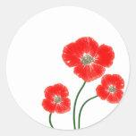 La amapola roja brillante hermosa florece imagen pegatinas redondas