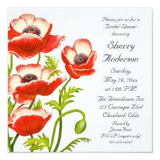 La amapola roja de Picotee florece la invitación