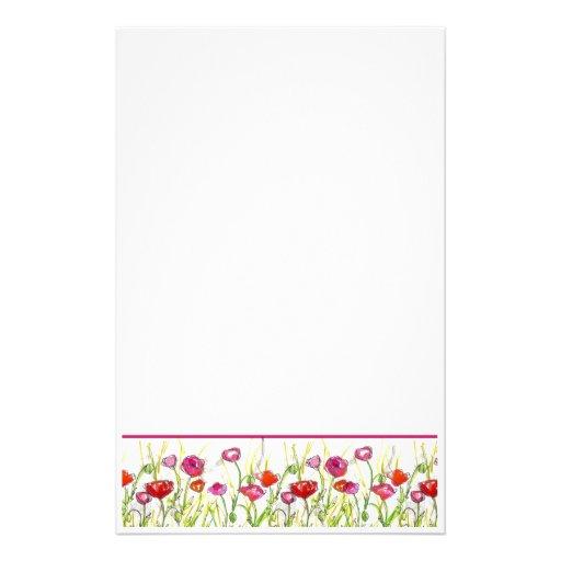 La amapola roja florece arte floral de la acuarela papeleria