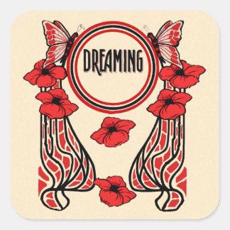 La amapola roja florece el sueño abstracto de la m pegatina cuadradas