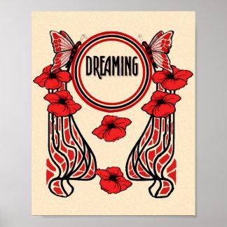 La amapola roja florece el sueño abstracto de la m póster