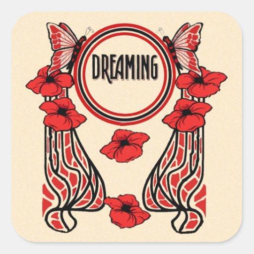 La amapola roja florece el sueño abstracto de la pegatina cuadradas