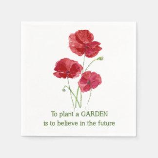 La amapola roja para plantar un jardín debe creer servilletas desechables