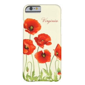 La amapola roja personalizada florece la caja del funda barely there iPhone 6