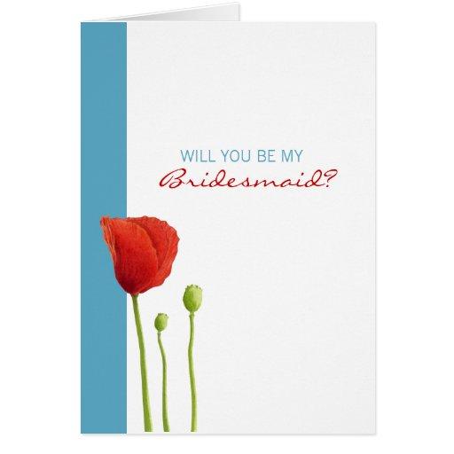 La amapola roja que la aguamarina le quiere sea mi tarjeta