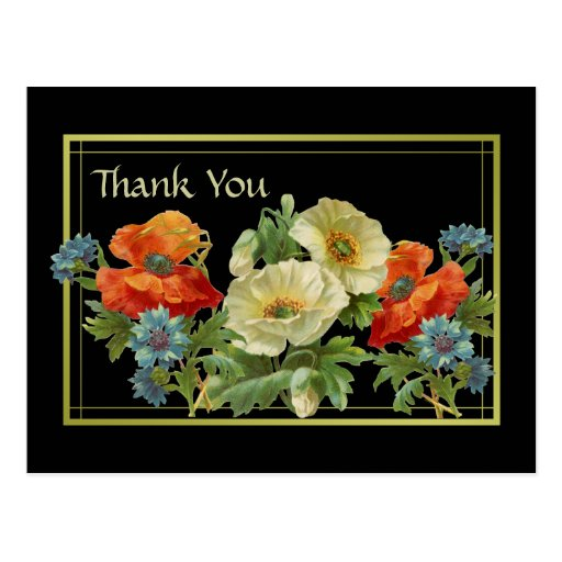 La amapola y los Cornflowers le agradecen postal f