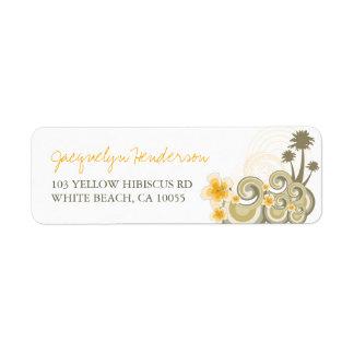 La amarillo de la dirección del hibisco de las etiqueta de remite
