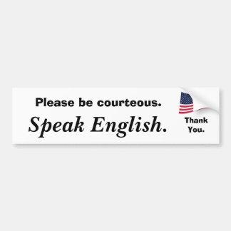 la americano-bandera, sea por favor cortesa., habl etiqueta de parachoque